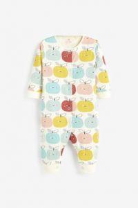 Трикотажний чоловічок для малюка з органчіної бавовни 1 шт. (принт з різнокольоровими яблуками)