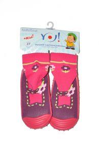 Шкарпетки з гумовою підошвою для дівчинки (рожеві), YOclub OB-002