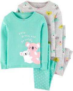 Трикотажна піжама для дівчинки 1шт. (м'ятна з принтом)
