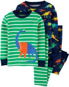 Трикотажная пижама для мальчика 1шт. (в полоску с принтом)