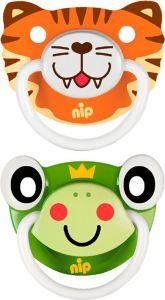 """Пустушки """"Веселі тварини №2, тигреня / жабка"""" силікон, Nip 31500"""