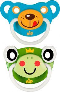 """Пустушки  """"Веселі тварини №2, жабка/ синій ведмедик"""" силікон, Nip 31500"""