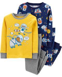 Трикотажна піжама для хлопчика 1шт. (жовтий реглан і сірі штани)