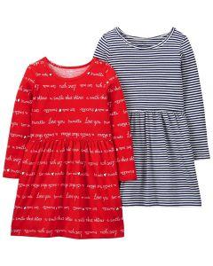 Трикотажне плаття для дівчинки 1 шт. (в смужку)