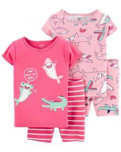 Піжама для дівчинки з шортиками 1шт. (яскраво-рожева з смугастими шортами)
