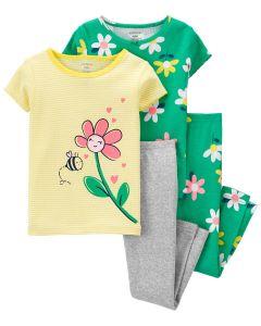 Трикотажна піжама для дівчинки 1 шт. (зелена з принтом)