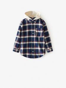 Плотная рубашка с трикотажным капюшоном