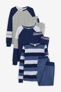 Піжама для дитини 1шт. (реглан у смужку і сині штани)