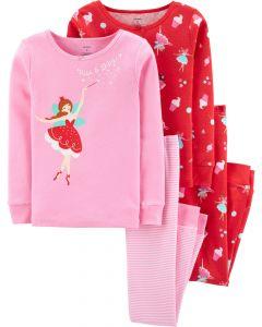 Трикотажна піжама для дівчинки 1шт. (червона з принтом)