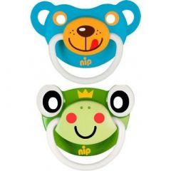 """Пустушки  """"Веселі тварини №3, жабка / синій ведмедик"""" силікон, Nip 31503"""
