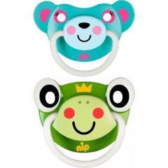 """Пустушки  """"Веселі тварини №3, жабка / бірюзовий ведмедик"""" силікон, Nip 31503"""