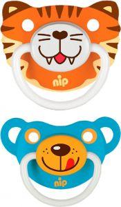 "Пустушки  ""Веселі тварини №3, тигр/ведмедик"" силікон, Nip 31503"