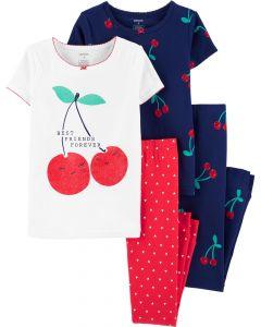 Трикотажная пижама для девочки 1 шт. (белая футболка и красные штаны)