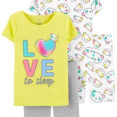 Трикотажная пижама для девочки 1 шт. (белая с принтом)
