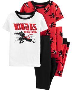 Трикотажная пижама для мальчика 1шт. (белая футболка и чёрные штаны)