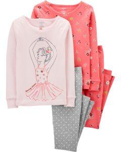 Трикотажна піжама для дівчинки 1шт. (яскраво-рожева з принтом)