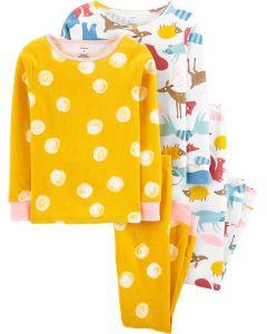 Трикотажна піжама для дівчинки 1шт. (жовта з принтом)