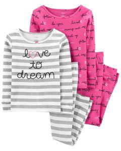 Трикотажна піжама 1шт.(рожева з принтом)