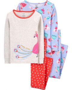 Трикотажна піжама для дівчинки 1шт. (блакитна з принтом)