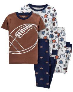 Трикотажная пижама для мальчика 1шт. (коричневая футболка и темно-синие штаны)
