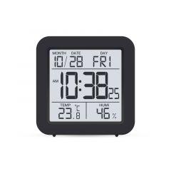 Цифровий термо-гігрометр з годинником(чорний), Склоприлад Т-15