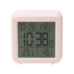 Цифровий термо-гігрометр з годинником(рожевий), Склоприлад Т-15
