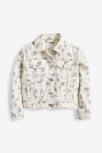 Джинсова куртка з принтом для дівчинки