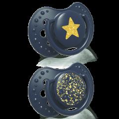 Силіконові динамічні пустушки Stardust  (3-6 міс) 2 шт. синя, Lovi 22/893