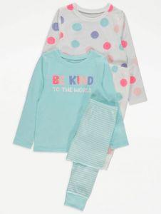 Трикотажна піжама для дівчинки 1шт. (блакитний реглан та штани у смужку)
