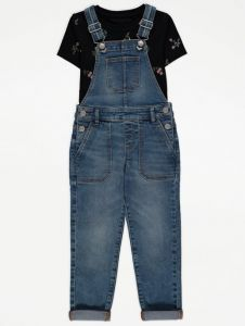 Комплект-двійка з джинсовим комбінезоном для дівчинки