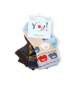 """Набір шкарпеток для хлопчика """"Машинка"""" (3 пари), YOclub SKC/3PAK/SML/B"""