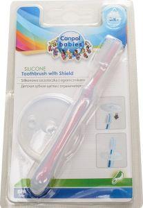 Зубна щітка силіконова з захисним кільцем (рожева), Canpol babies 10/500
