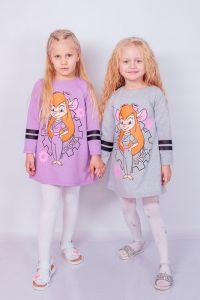 "Трикотажне плаття для дівчинки ""Chip and Dale"" (сіре),  p-6004-057-33-v"