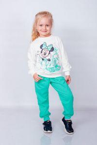 """Трикотажний комплект з начосом для дівчинки """"Minnie Mouse/Минни Маус"""" (білий світшот), 6063-023-33-v1"""