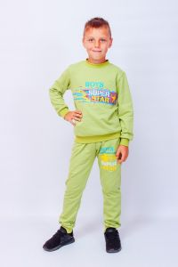 Трикотажний комплект з начосом для хлопчика (салатовий), p-6063-023-33-2-v