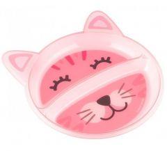 """Тарілка з двома відділеннями """"Котик"""", Canpol babies 74/005 (рожева)"""