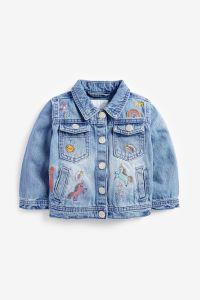 Джинсова куртка з вишивкою для дівчинки