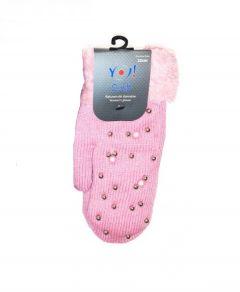 Теплі рукавиці  для дівчинки (рожеві), YoClub R-088A