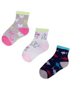 """Набір шкарпеток для дівчинки """"Метелик s рибка"""" (3 пари), YOclub SKC/3-PAK/SML"""