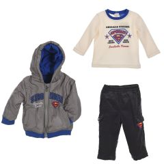"""Комплект тройка для мальчика """"SUPERMAN"""", Sun City APH016 (серый )"""
