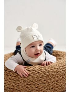 "Набір ""Баязид"" для хлопчика, молочний (шапочка і хомут), 21.02.006"