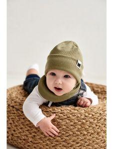 """Набір """"Ахмет"""" для хлопчика, оливковий (шапочка і хомут), 21.02.022"""