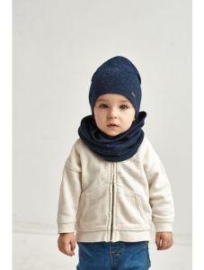 """Набір """"Аріф"""" для хлопчика, темно-синій (шапочка і хомут), 21.02.029"""