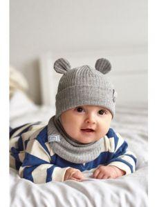 """Набір """"Мустафа"""" для дитини, сірий (шапочка і хомут), 21.02.005"""