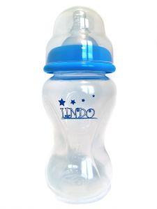 Бутылочка объемом 270 мл с силиконовой соской, голубая, Lindo А 21