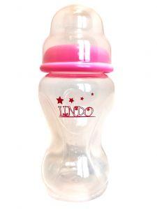 Бутылочка объемом 270 мл с силиконовой соской, розовая, Lindo А 21