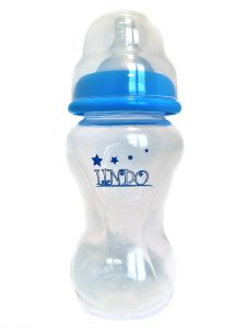 Бутылочка объемом 210 мл с силиконовой соской, голубая  Lindo А 16