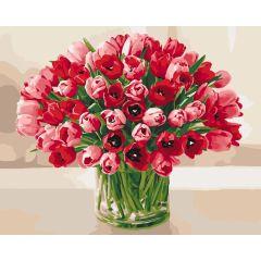 """Картина за номерами """"Палкі тюльпани"""" 40*50, Ідейка КНО3058"""