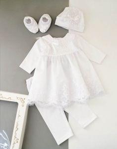 Святковий велюровий комплект для дівчинки (молочний), Little Angel 10994/10245/10246