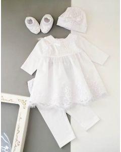 Святковий велюровий комплект для дівчинки (білий), Little Angel 10994